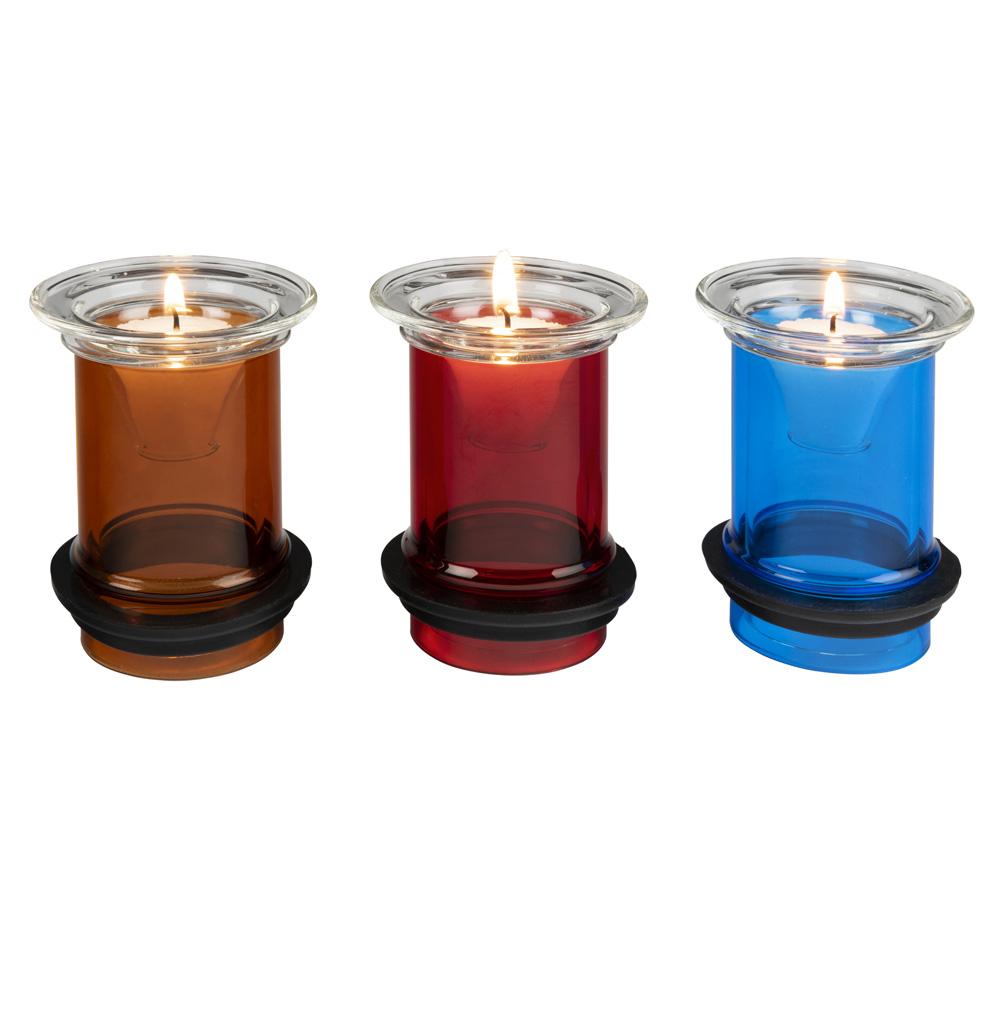 trzy kolory kloszy do świecznika wotywnego